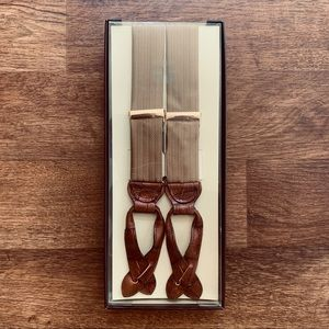 Trafalgar Gold & Tan Leather/ Cloth Suspenders NWT